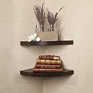 Danya B Walnut Laminate Radial Corner Wall Shelf Set of 2