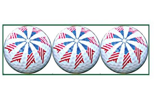 American Pinwheel Flag Designed Golf Balls - 3 balls in a box - 1