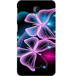 Casotec Butterflies Neon Light Design Hard Back Case Cover for Micromax Canvas Unite 2 A106