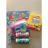 LED Light Up Bubble Gun And Playskool Sidewalk Chalk~Summertime Toy Bundle~