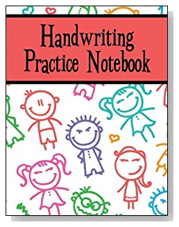 Handwriting Practice Notebook For Children - Smiling stick kids decorate the cover of this handwriting practice notebook for younger kids.