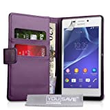 Yousave Accessories PU Leather Wallet Cover Case for Sony Xperia M2 - Purple