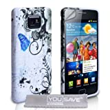 Samsung Galaxy S2 Grey And Blue Floral Butterfly Silicone Caseby Yousave Accessories
