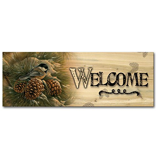 WGI-GALLERY 124 Welcome December Dawn Chickadee Wooden Wall Art