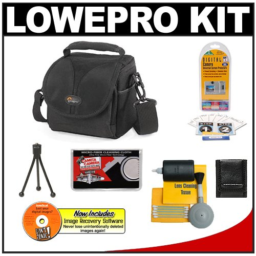 Lowepro Rezo 110 AW Camera Bag/Case (Black) + Accessory Kit for for Canon Rebel T3, T3i, T1i, T2i, EOS 60D, 5D, 7D, Nikon D3000, D3100, D5000, D5100, D7000, D300s, Olympus Evolt E-5, E-30, E-620 & Sony Alpha A560, A580, A33, A35, A55