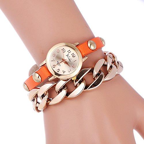 YILISHA Chain Double Leather Strap Bracelet Analog Quartz Women Watch (Orange)