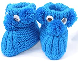 Knit Puppy Booties, Size: 0-12 M, Color: Blue