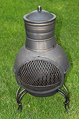 Cast Iron And Steel Garden Chimenea Complete With Barbecue Grill by Olive Grove
