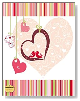 Pink Hanging Hearts Notebook - Hanging hearts and two lovebirds are the main attraction of the dark pink and complementary color theme of the cover of this blank and college ruled notebook with blank pages on the left and lined pages on the right.