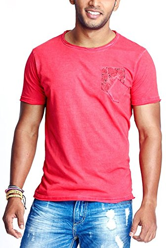 Masculino Latino Casual Red T-shirts Round Neck for Men MLT3016A-M