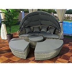 Polyrattan Sonneninsel Rattan Lounge Liege Insel Sonnenliege Gartenliege (180cm + Abdeckcover, Grau)