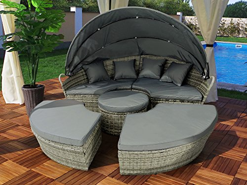 Swing & Harmonie Polyrattan Sonneninsel Rattan Lounge Liege Insel Sonnenliege Gartenliege (180cm, Grau)
