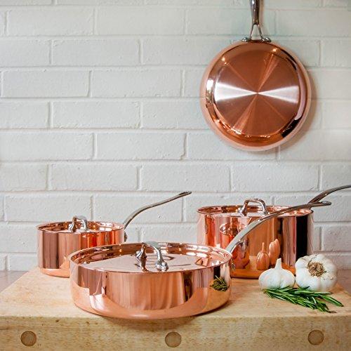 Lot de 4poêles en cuivre avec couvercle poêle à frire Pots Sauteuse Français