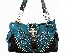 Rhinestone Tree Style Cross Shoulder Hobo Handbag Purse in Black Brown Fuchsia Turq Hl12174-1 (Turq)