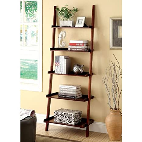 Marcel Mission Style Cherry Finish 5-Tier Ladder Bookcase Shelf