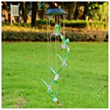 Hummingbird Solar LED Light Wind Chime Décor Lighting