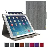 iPad Air 2 Case - roocase Orb 360 Folio Leather Cover with Sleep / Wake Feature for Apple iPad Air 2 (2014) Tablet with Stand Support Landscape, Portrait & Typing View - Canvas Gray