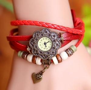 Fashion Retro Heart Pendant Leather Weave Bracelet Quartz Wrist Watch for Women