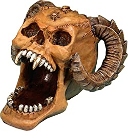 Demon Skull - Open Mouth Realistic Voodoo Type Skull Replica, Ashtray, Candy Dish, Coins or Jewelry holder, Home Statue - Figurine, Gifts & Decor by Nose Desserts