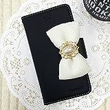 【 iphone 7Plus 手帳型 ケース カバー ★ 100%強化ガラスフィルム付 】 ブラック / iphone7Plus スマホケース
