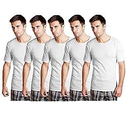 Essar Mens 100% Cotton White Vest Innerwear half sleeve Combo of 5 Pack (EssarWhiteHalfSleeve05-110Cm)