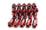 ホイールナット 20個セット アルミ M12 P1.5 52mm ロング 貫通 レッド 赤