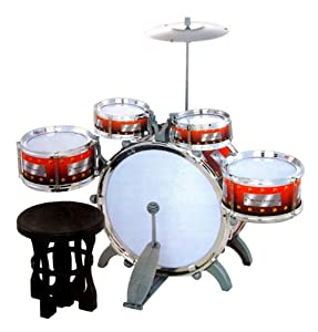 jazz drum set with chair music toy instrument for kids 10 pc toys games. Black Bedroom Furniture Sets. Home Design Ideas