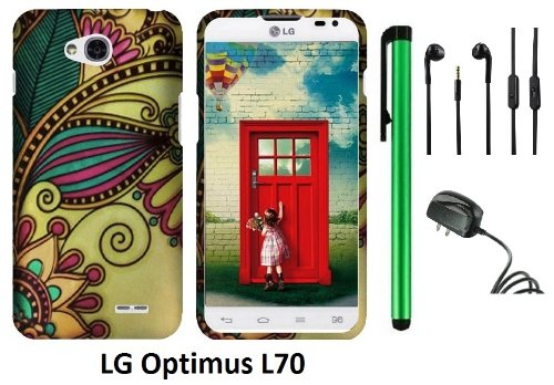 Lg Optimus L70 (Ms323) Premium Pretty Design Protector Hard Cover Case + Travel (Wall) Charger + 3.5Mm Stereo Earphones + 1 Of New Assorted Color Metal Stylus Touch Screen Pen (Antique Totem)