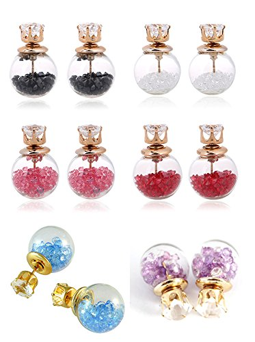 Youbella Crystal Multi-Colour Stud Earrings For Women/Girls ,Combo Of 6