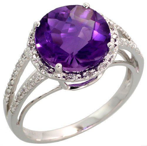 14ct White Gold Large Stone Ring, w/ 0.10 Carat Brilliant Cut Diamonds  &  5.06 Carats 10mm Brilliant Cut Amethyst Stone, 7/16