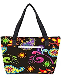 Pack Of 2 Multicolor Abstract Pattern Combo Tote Shopping Grocery Bag With Coin Pencil Purse