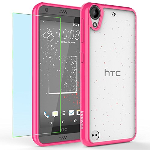 HTC Desire 530 Case, INNOVAA Luminous Crystal Clear Series Bumper Case W/ Free Screen Protector & Touch Screen Stylus Pen - Hot Pink