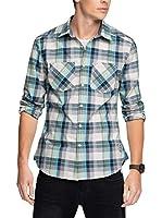 edc by ESPRIT Camisa Hombre (Blanco / Azul Marino)