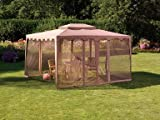 Living Accents Gazebo with Mosquito Netting, Taupe 10' X 12' X 9-3/4'