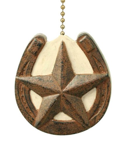 Horseshoe with Barn Texas Star Primitive Design Ceiling Fan Pull (Ceiling Fans For Boys Rooms compare prices)