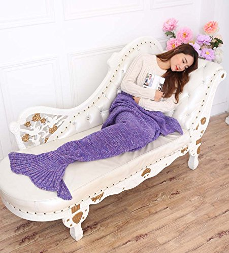 Maxchange Mermaid Blanket ,Super Soft Sleeping Bags ,Christmas,Birthday Holiday Gifts for All Seasons (Purple)