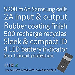 VG Munoth Y302 5200 mAh Power Bank [Samsung Cells] 2A input & 2A output - Black Grey with CE, FCC, ROHS certifications