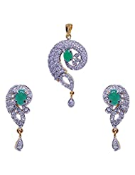 Gehna Emerald Oval Stone Studded Pendant & Earrings Set Made In Silver Alloyed Metal