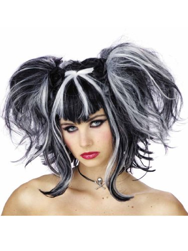 Gothic Fairy Wig Two Tone Black White Fairy Theatre Costumes Accessorry