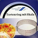 Schulz 32021 Edelstahl Tortenring mit Skala und Rastung - extra hoch 8,5cm - 16-30cm