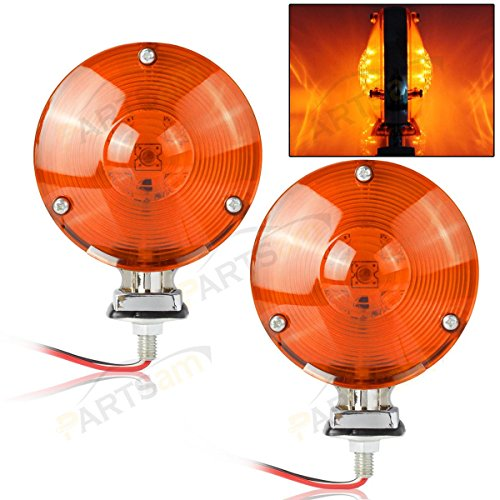 "Partsam 2x LED 4"" Double-Face Stop/Turn Light Assembly w/Chrome Reflector Amber 24 Diodes"