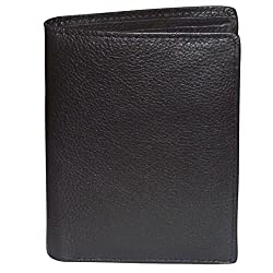 Style98 Pure Leather Black Mens Long Wallet With Card Holder & Coin Pocket