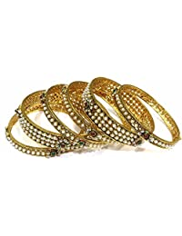 Shingar Jewellery Ksvk Jewels Antique Gold Plated Polki Kundan Bangles Set In 2.4 Size For Women (8184-m-2.4)