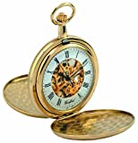 Woodford Skeleton Full-Hunter Pocket Watch, 1063, Men's Gold-Plated Twin-Lidded  with Chain (Suitable for Engraving)