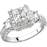 0.45 Carat (Ctw) 18k White Gold Round Cut Diamond Vintage Antique Look Semi Mount Ladies Engagement Bridal Ring (No Center Three Stones)