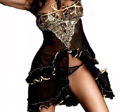 Seniorita Style Black Mesh Slip with Matching Thong - Colour Black - Size L