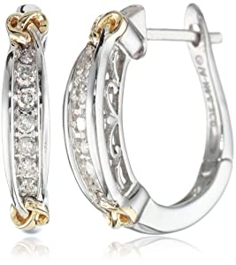 Love Knot Sterling Silver and 14k Gold Diamond Love Knot Hoop Earrings (.15 cttw, I-J Color, I2-I3 Clarity)