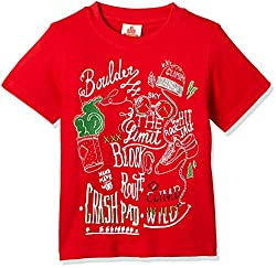 UFO Boys' T-Shirt (AW-16-KF-BKT-205_Red_8 - 9 years)