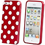 ECENCE Apple iPhone 5 5S Silikon TPU case schutz hülle handy tasche cover schale retro rot weiss gepunktet 22040405