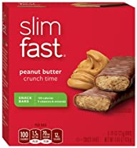 SlimFast Peanut Butter Crunch Time Snack Bars, 23 grams, 6 Count Bars